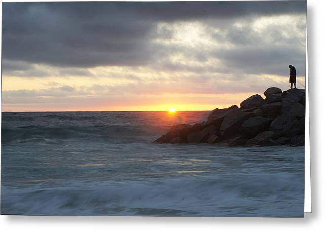 Old Man And The Sea Greeting Cards - Beach Sunset Greeting Card by Ronald Salzetti