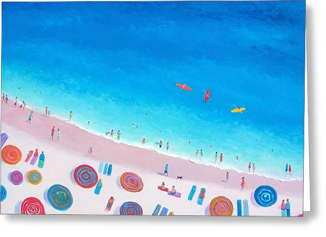 Beach Cottage Style Greeting Cards - Beach Umbrellas Greeting Card by Jan Matson