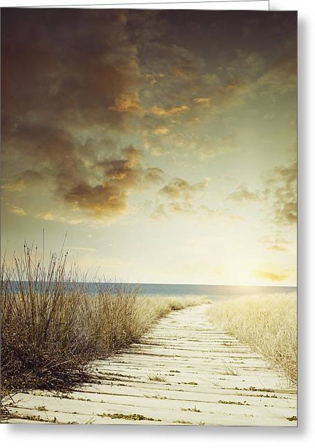 Beach Photograph Greeting Cards - Beach walkway Greeting Card by Les Cunliffe