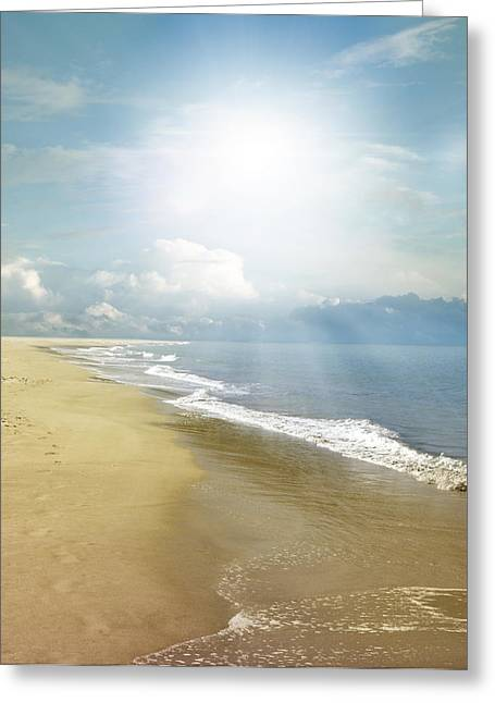 Beach Scenery Greeting Cards - Beachlight Greeting Card by Les Cunliffe