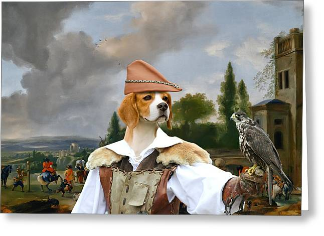 Beagle Prints Greeting Cards - Beagle Art Canvas Print Greeting Card by Sandra Sij