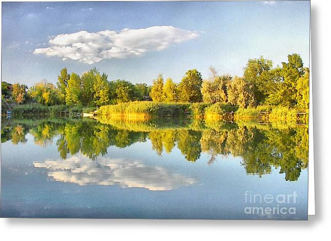 Coppery Greeting Cards - Beautiful Autumn Landscape Greeting Card by Odon Czintos
