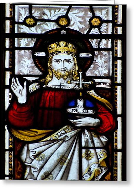 Saint Hope Greeting Cards - Beautiful stained glass window detail in 15th Century Saxon chur Greeting Card by Matthew Gibson
