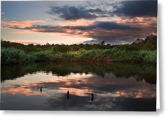 Colorful Cloud Formations Greeting Cards - Beautiful sunset over Autumn Fall lake with crystal clear reflec Greeting Card by Matthew Gibson