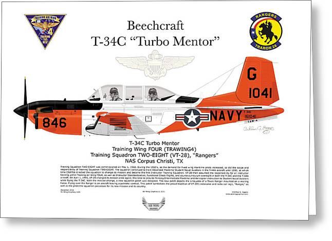 Arthur Eggers Greeting Cards - Beechcraft T-34C TurboMentor VT-28 Greeting Card by Arthur Eggers
