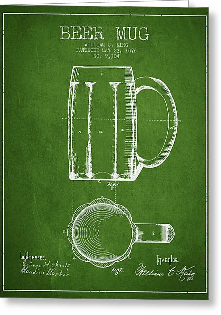 Glass Wall Greeting Cards - Beer Mug Patent from 1876 - Green Greeting Card by Aged Pixel