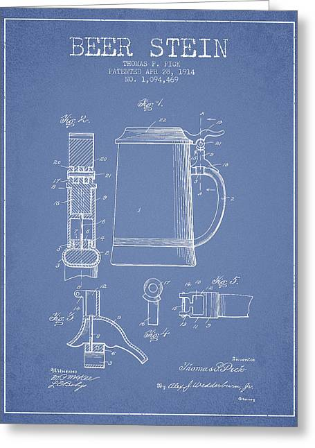 Barrel Greeting Cards - Beer Stein Patent from 1914 - Light Blue Greeting Card by Aged Pixel