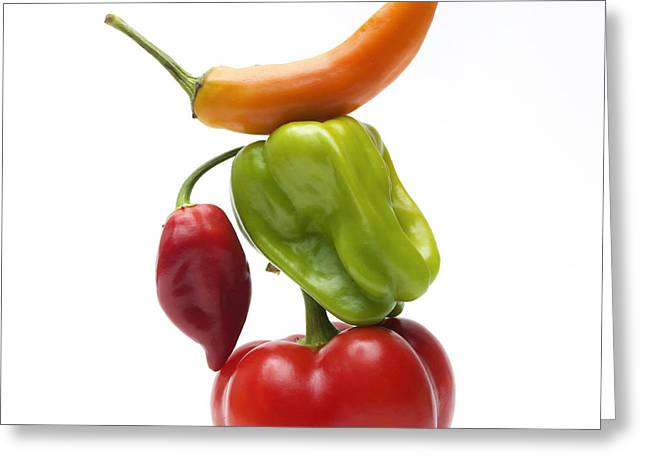 Chili Peppers Greeting Cards - Bell Peppers and Tomatoes Greeting Card by Bernard Jaubert