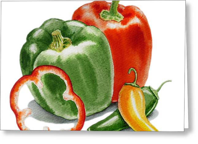 Sour Greeting Cards - Bell Peppers Jalapeno  Greeting Card by Irina Sztukowski