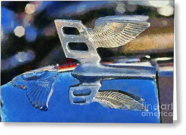 Vintage Hood Ornaments Paintings Greeting Cards - 1956 Bentley S1 Greeting Card by George Atsametakis