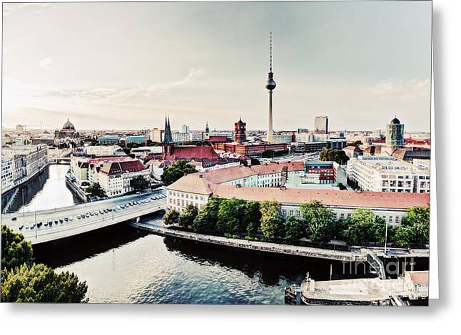Berlin Germany Greeting Cards - Berlin Germany view on major landmarks Greeting Card by Michal Bednarek