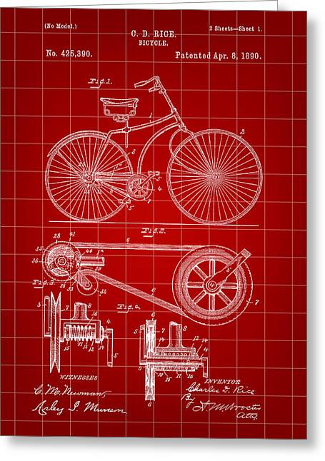 Tandem Bicycle Greeting Cards - Bicycle Patent 1890 - Red Greeting Card by Stephen Younts