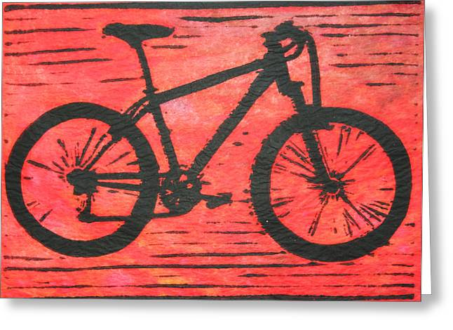 Lino Drawings Greeting Cards - Bike 10 Greeting Card by William Cauthern