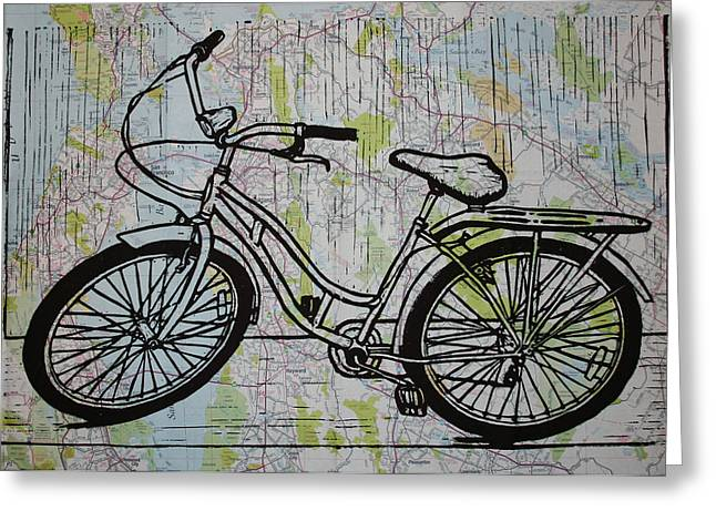 Lino Drawings Greeting Cards - Bike 5 Greeting Card by William Cauthern