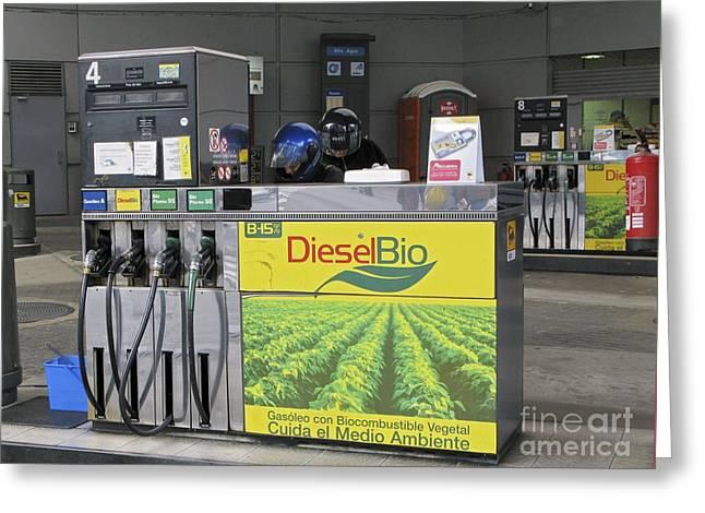 Petrol Green Greeting Cards - Biodiesel Fuel Pump Greeting Card by RIA Novosti