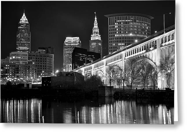 Cuyahoga River Greeting Cards - Black and White Cleveland Greeting Card by Frozen in Time Fine Art Photography