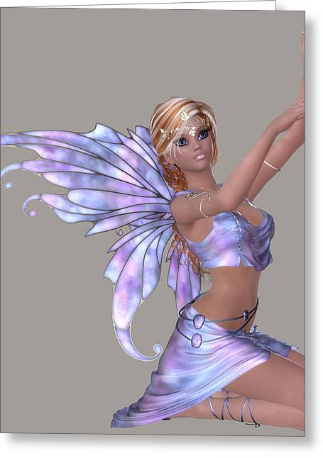 Angelical Digital Art Greeting Cards - Black Fairy Girl Greeting Card by Marcella