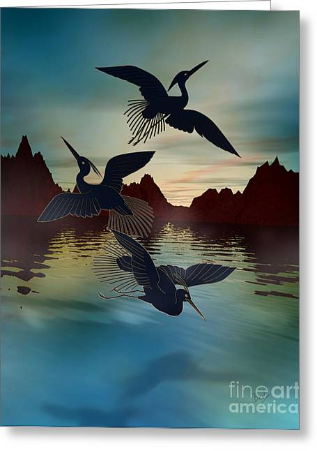 Flying Bird Mixed Media Greeting Cards - 3 Black Herons At Sunset Greeting Card by Bedros Awak