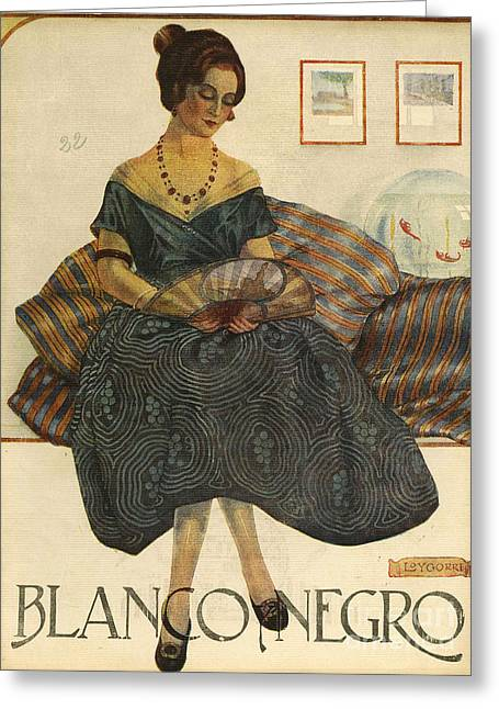 Vintage Clothes Greeting Cards - Blanco Y Negro  1923  1920s Spain Cc Greeting Card by The Advertising Archives