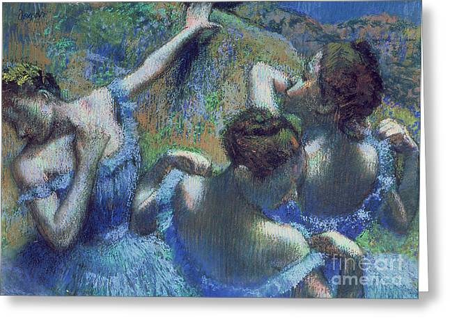 Ballerinas Pastels Greeting Cards - Blue Dancers Greeting Card by Edgar Degas