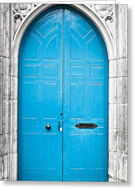 Medieval Entrance Photographs Greeting Cards - Blue door Greeting Card by Tom Gowanlock