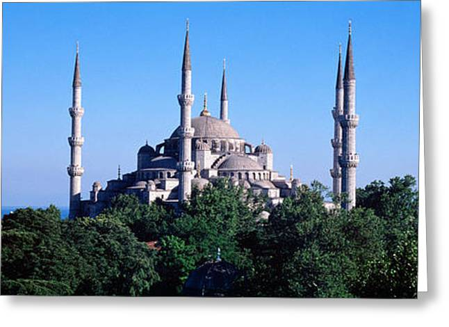 Istanbul Greeting Cards - Blue Mosque Istanbul Turkey Greeting Card by Panoramic Images