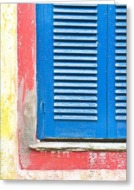 Weathered Shutters Greeting Cards - Blue shutters Greeting Card by Tom Gowanlock