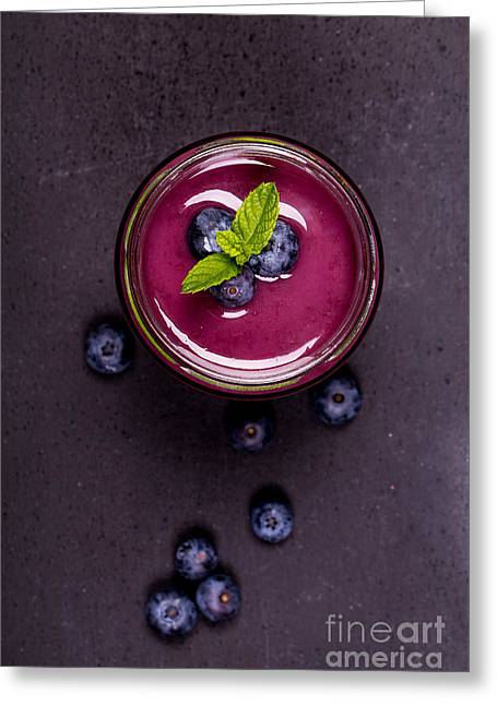 Handwritten Greeting Cards - Blueberry smoothie   Greeting Card by Jane Rix