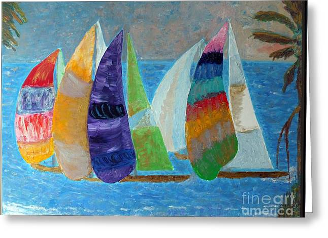 Skies Reliefs Greeting Cards - Boats at Sunset 1 Greeting Card by Vicky Tarcau