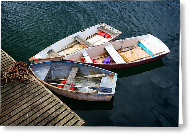 Pemaquid Lighthouse Greeting Cards - 3 Boats Greeting Card by Emmanuel Panagiotakis