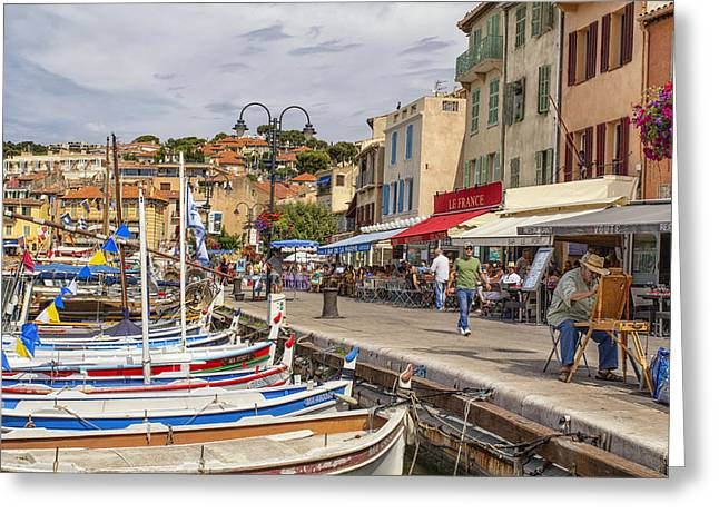 Azur Greeting Cards - Cassis Harborside  Greeting Card by Nomad Art And  Design