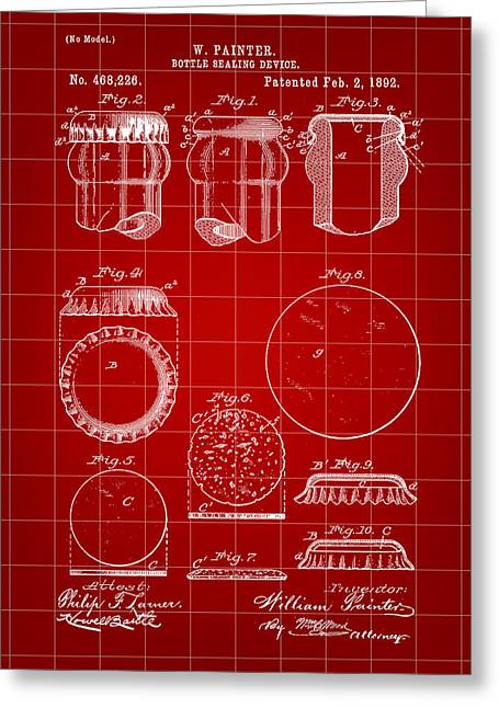 Bottle Cap Digital Art Greeting Cards - Bottle Cap Patent 1892 - Red Greeting Card by Stephen Younts