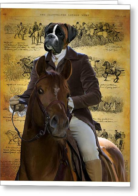 Boxer Print Greeting Cards - Boxer Art Canvas Print Greeting Card by Sandra Sij