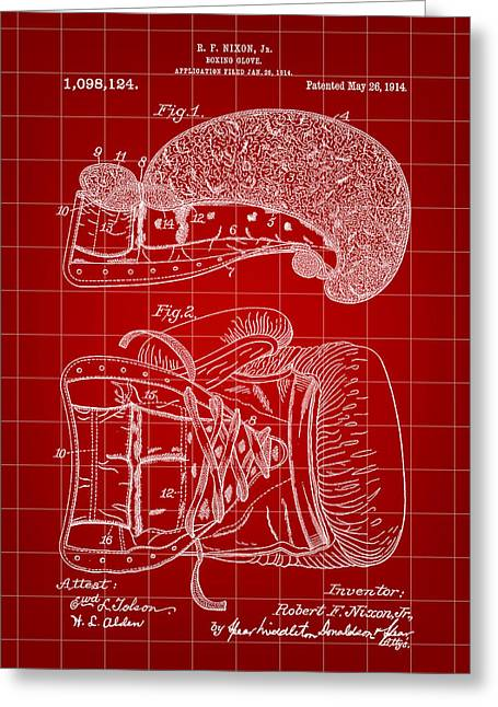 Punch Digital Greeting Cards - Boxing Glove Patent 1914 - Red Greeting Card by Stephen Younts
