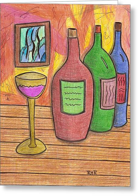 Wine-glass Drawings Greeting Cards - 3 Brands Greeting Card by Ray Ratzlaff