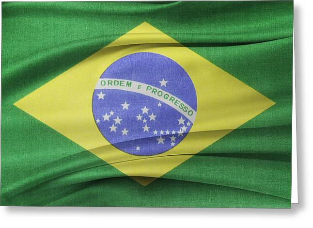 Ruffled Greeting Cards - Brazilian flag Greeting Card by Les Cunliffe