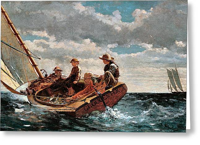 Winslow Homer Digital Art Greeting Cards - Breezing Up Greeting Card by Winslow Homer