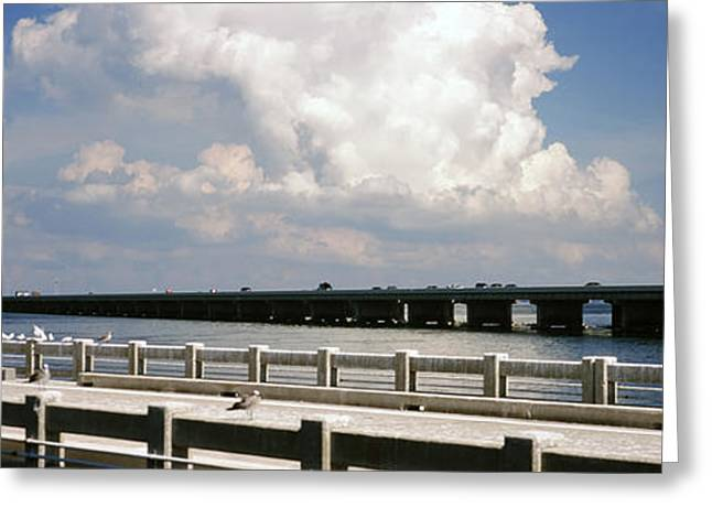 Florida Bridge Greeting Cards - Bridge Across A Bay, Sunshine Skyway Greeting Card by Panoramic Images