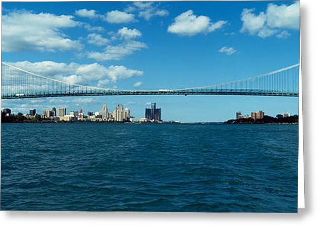 Detroit River Greeting Cards - Bridge Across A River, Ambassador Greeting Card by Panoramic Images