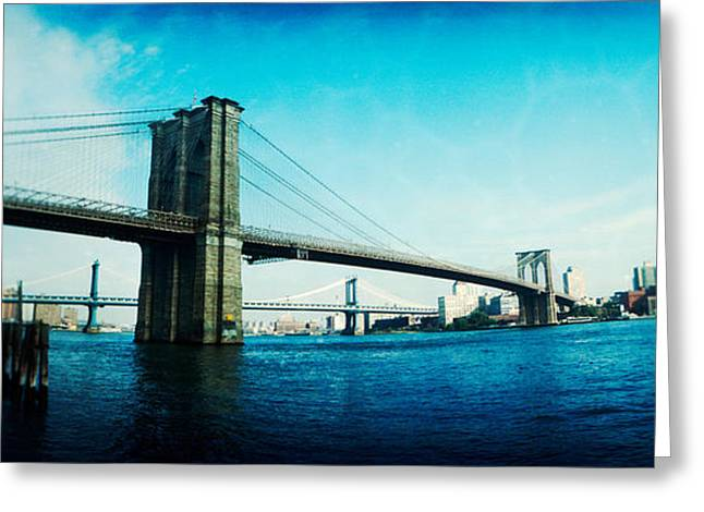 International Photography Greeting Cards - Bridge Across A River, Brooklyn Bridge Greeting Card by Panoramic Images