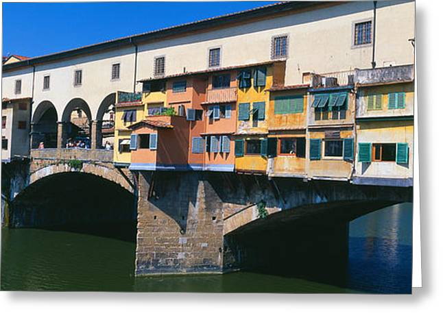 Arno River Greeting Cards - Bridge Across A River, Ponte Vecchio Greeting Card by Panoramic Images