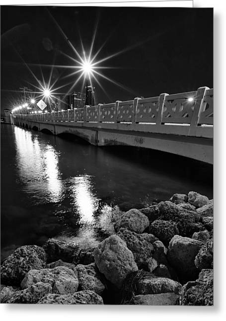 North Sea Greeting Cards - Bridge at night Greeting Card by Celso Diniz