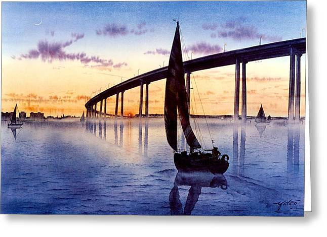 Sailboat Images Greeting Cards - Bridge At Sunset Greeting Card by John YATO