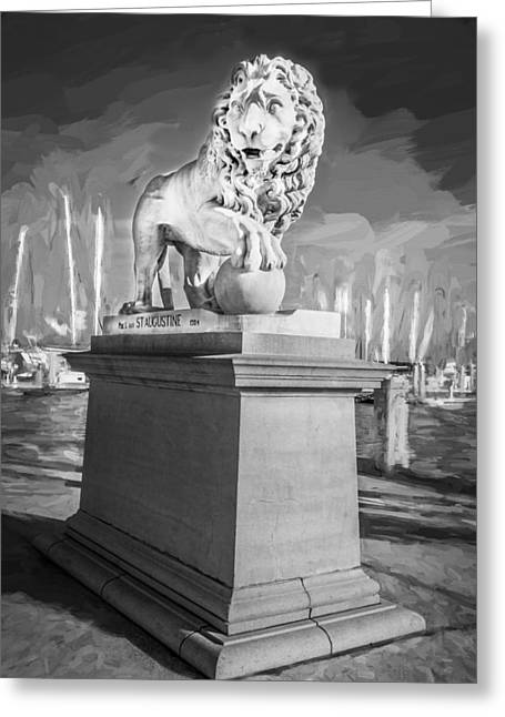 Florida Bridge Greeting Cards - Bridge of Lions St Augustine Florida Painted BW  Greeting Card by Rich Franco