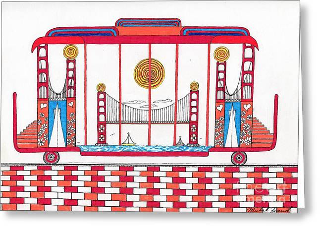 Buildings By The Ocean Greeting Cards - 3 Bridges and Cable Car Greeting Card by Michael Friend
