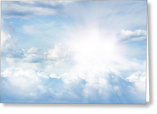 Cumulus Greeting Cards - Bright sky Greeting Card by Les Cunliffe