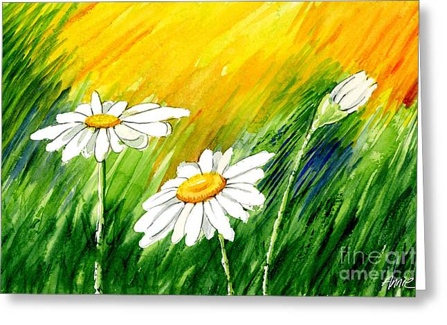 Daisy Framed Prints Greeting Cards - 3 Brilliant Daisies Greeting Card by Annie Troe