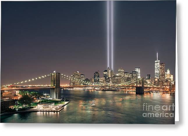 Manhatan Greeting Cards - Brooklyn Bridge September 11 Greeting Card by Michael Ver Sprill