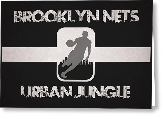 Nets Greeting Cards - Brooklyn Nets Greeting Card by Joe Hamilton
