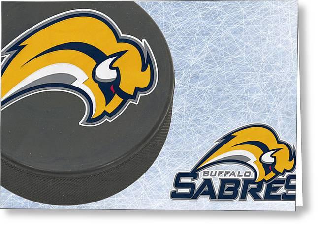 Skates Greeting Cards - Buffalo Sabres Greeting Card by Joe Hamilton